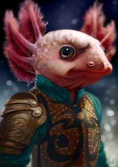 Axolotl warrior by kinkajoomotion on DeviantArt Alien Character, Character Art, Character Design, Cute Fantasy Creatures, Alien Creatures, Dnd Characters, Fantasy Characters, Fantasy Images, Fantasy Art