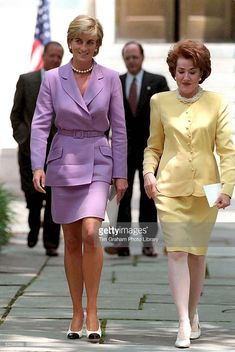 June 17, 1997: Diana, Princess of Wales with the President of the American Red Cross, Elizabeth Dole in Washington, D.C in a campaign to ban landmines.