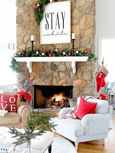 tips for decorating a holiday mantel using red and black from duke manor farm