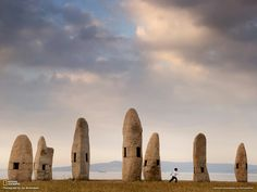 Standing Stones, Galicia. Standing stones called menhirs spike the coast of northwestern Spain in Galicia. The 1994 installation by Galician artist Manolo Paz pays tribute to the Celtic people who once inhabited much of Europe, including northern Spain.Photograph by Jim Richardson