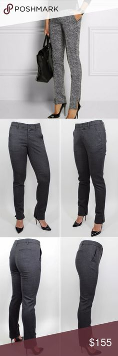 """Rag & Bone Skinny Gray Stretch Wool Trousers 873 Rag & Bone Women's Pants Gray Flat Front Slim Skinny Pants.  2 Front Slanted Pockets.  Zipper and Button Front Closure.  2 Back Button Horizontal Pockets.  Belt Loops.  Unlined.  Side Slits on Hem - Great Designer Detail! Retails $495 Size: 0  Waist: 14""""  Hip: 18""""  Inseam: 30"""" Rise: 7""""  Length: 37.25""""  Leg Open: 6""""  Condition: Very Good!  Pattern: Solid Material: 97% Wool, 3% Elastane Country: United States Care: Dry Clean WT: 0.12 CSKU: 873…"""