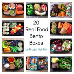 20 Real Food Bento Boxes - easy lunch ideas for kids & adults. No fancy shapes & faces necessary! | Frugal Nutrition #realfood #lunch