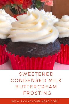 Sweetened Condensed Milk Buttercream Frosting Are you looking for a new buttercream frosting recipe? Try out this homemade Sweetened Condensed Milk Buttercream Frosting Recipe. It's not as sweet as vanilla buttercream icing and very delicious. Frost Cupcakes, Mocha Cupcakes, Strawberry Cupcakes, Velvet Cupcakes, Easter Cupcakes, Flower Cupcakes, Christmas Cupcakes, Vanilla Cupcakes, Banana Cupcakes