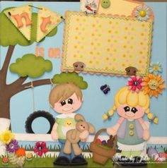 "paper piecing easter | 12 x 12 Premade Child Easter Scrapbook Pages w/paper piecing ""The Hunt ..."