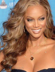 Love this look! Cheap Human Hair Wigs, Remy Human Hair, Cheap Wigs Online, New Long Hairstyles, Indian Human Hair, Tyra Banks, Inspirational Celebrities, Ebony Beauty, Tan Skin