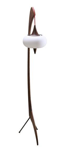 Sculptural walnut floor lamp by Zurn Design