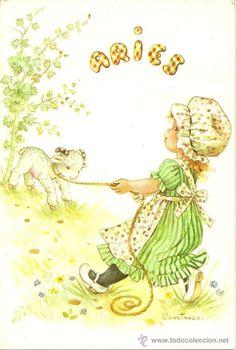 Bonita postal: Horoscopo. Aries. Edita C y Z, en el año 1980. nº 6003-B. Escrita