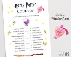 Harry Potter Match The Couples Printable Game Wizarding Harry Potter Word Search, Harry Potter Words, Harry Potter Couples, Harry Potter Diy, Harry Potter Board Game, Harry Potter Party Games, Bachelorette Party Games, Diy Shower, Couple Shower