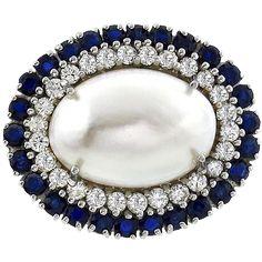 Fabulous Diamond Sapphire Mabe Pearl 14kt Gold White Pendant found at www.rubylane.com @rubylanecom