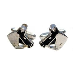 Equestrian Cufflinks Horse Profiles Silver Tone and Black Free Shipping