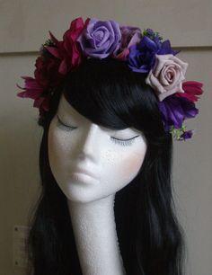 Floral Flower Crown Garland Headpiece Headband Hair Band Festival 70s style VTG