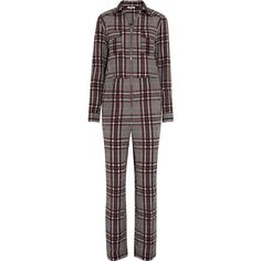 GANNI Charron checked cotton-blend seersucker jumpsuit (3.531.505 IDR) ❤ liked on Polyvore featuring jumpsuits, grey, loose fit jumpsuit, loose jumpsuit, grey jumpsuit, ganni and jump suit