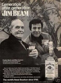 Jim Beam Whiskey Ad Fredric March/mike Connors (1973)