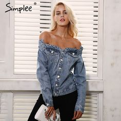 Simplee Sexy off shoulder denim jacket coat Women autumn casual slash neck jeans outerwear coat Female winter basic jackets  $76.64 Click here to purchase: https://elitefashionsusa.com/index.php?route=product/product&path=85&product_id=691&limit=100  #fashionpost #stylish #cool #classy #instafashion #fashionable #fashionblog #fashionstyle #womensfashionpost #denim #jacket #hoodies #sexy #hot