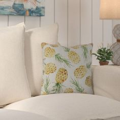 "Bay Isle Home CostiganTossed Pineapples Throw Pillow Size: 20"" H x 20"" W x 3"" D"