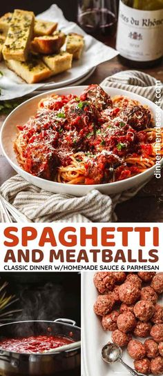 Spaghetti and Meatballs is a classic, kid-friendly dinner with homemade marinara sauce and meatballs topped with parmesan cheese and parsley. Homemade Spaghetti, Homemade Marinara, Homemade Sauce, Baked Spaghetti And Meatballs, Parmesan Meatballs, Meatball Sauce, Delicious Dinner Recipes, Meatloaf Recipes, How To Cook Pasta
