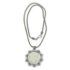 Artisan Crafted Sterling Silver Floral Necklace by Buana, Indonesia - Frangipani Moon | NOVICA