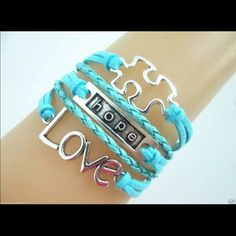 blue infinity puzzle love infinity bracelet hope Infinity bracelet as pictured colors May look different on bracelet than picture shows. Sometimes it is hard to get an accurate picture. Bundle with another bracelet 2/$12. The other picture is an example of what the back looks like Jewelry Bracelets