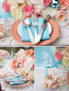 Coral and blue! Beautiful! Always one of Aunt Bebes favorites!