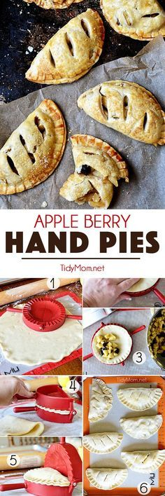 Forget the plates and forks, hand pies are the best way to enjoy pie. Refrigerated pie crust and a pie press makes this Apple Berry Hand Pies recipe simple and quick. Hand Pie recipe at TidyMom.net