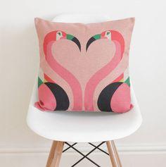 Geometric Flamingos Cushion Cover