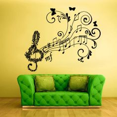 Wall Decal Vinyl Sticker Decals Note Notes Wave Music Flowers Curly Nice in Home & Garden Music Wall Art, Music Decor, Wall Stickers Murals, Vinyl Wall Decals, Bedroom Built Ins, Music Flower, Little Girl Rooms, Music Classroom, Classroom Ideas