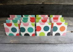 Mini Note Cards ~ 3x3 Cards ~ Fold Over Cards ~ Thank You ~ Gift Tags  ~ Set of 16 ~ Polka Dot Cards ~ Small Note Cards ~ Handmade Cards by MyLilCraftyRoom on Etsy