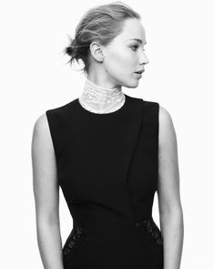 Jennifer Lawrence photographed in black and white for a Dior campaign // Photo c/o Dior