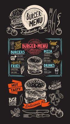 Pizza Menu Design, Food Menu Design, Food Truck Design, Cafe Design, Burger Menu, Burger Restaurant, Restaurant Design, Burger Bar, Food Trucks
