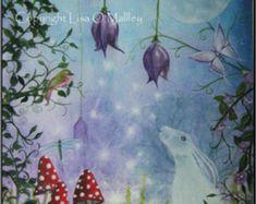 """Hare Print, Moon """" Night Garden"""""""
