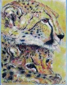 A wildlife painting of a cheetah and cub created with soft (chalk) pastels on textured paper - Kelly Goss Art