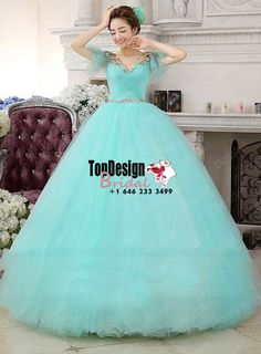 2017 New V-Neck Beaded Sweet 15 Ball Gown Tiffany Blue Satin Tulle Prom Dress Gown Vestidos De 15 Anos