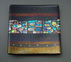 Midnight Nightsky by Sabine Snykers: Art Glass Platter available at www.artfulhome.com