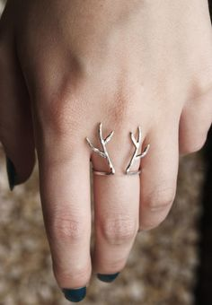 Sterling silver antler ring for us hunting widows
