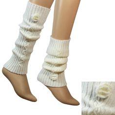 Hand Crochet Flower Fashion Ribbed Knit Soft Acrylic Leg Warmer - White Dahlia, http://www.amazon.com/dp/B005NKKIJK/ref=cm_sw_r_pi_dp_HH1wqb167KQVN