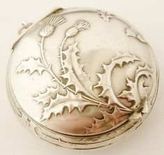 Fabulous French art nouveau 800-900 grade silver compact locket from Lyonesse on Ruby Lane