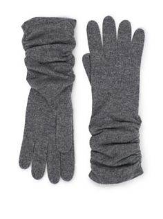 Forte Women's Ruched Cashmere Gloves (Zinc)
