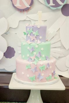 Gorgeous butterfly fairy themed birthday cake at a Fairy 1st Birthday Party #fairyparty #fairycake #butterflycake #cake #party #fairy