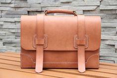 Vintage Handmade Genuine Natural Vegetable Tanned Leather Briefcase