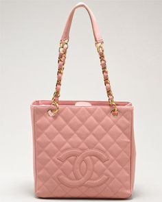 Chanel Rose Quilted Caviar Leather Petite Shopper Tote Bag