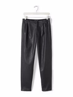 7ba8a4e3eee4 NWoT Banana Republic Black Pleated Vegan Faux Leather Pleather Ankle Crop  Pant 6  BananaRepublic