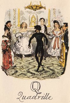 """Another look at fashions of the '30s. """"Q: Quadrille"""" from """"A Comic Alphabet"""" by George Cruikshank (1836)"""