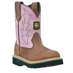 John Deere Kids' Wellington Cowboy Boot Toddler/Preschool Boots (Tan/Pink) - 12.0 M