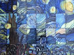 "Collaborative art Grade/Middle School Masterpiece Mosaic of ""Starry Night"" by Vincent Van Gogh Collaborative Art Projects For Kids, Class Art Projects, Classroom Art Projects, Art Classroom, Group Projects, Family Art Projects, High School Art Projects, Welding Projects, Club D'art"