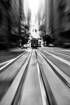 Financial district of San Francisco • photo: Thomas Hawk on Flickr • NOTE: B&W/Bokeh photoshopped by unknown artist