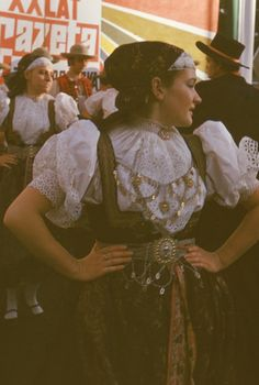 Regional clothing from Cieszyn, Poland. Photo taken by Józef Burszta in 1972 [source]. Welsh, Folk Costume, Costumes, Folk Clothing, Reference Images, First World, Flower Girl Dresses, Culture, Traditional
