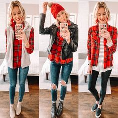 Straight a style red flannel outfit, red shirt outfits, red flannel shirt, flan Red Flannel Outfit, Red Shirt Outfits, Red Flannel Shirt, Flannel Fashion, Plaid Outfits, Plaid Shirts, Flannel Style, Womens Flannel, Tomboy Outfits