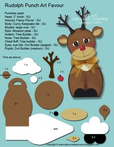 Alex's Creative Corner: Christmas in July - Rudolph with your nose so bright. Paper Punch Art, Punch Art Cards, Christmas Punch, Christmas In July, Holiday, Paper Toy, Owl Punch, Kids Cards, Baby Cards