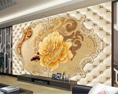 European soft bag Peony pattern photo 3D wallpaper Deluxe living room room background wallpaper for walls 3 d tapety Beibehang