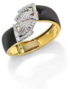 Art Deco Black Enamel Bangle with Detachable Diamond Clips - Phillips